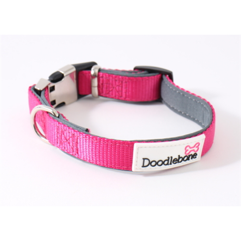 Doodlebone Bold Padded Collar - Neon Pink