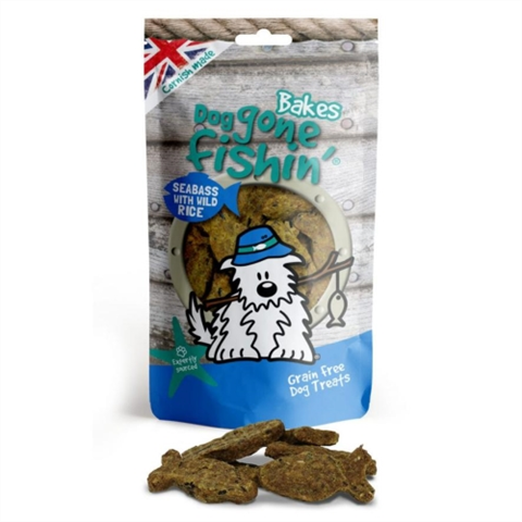 Dog Gone Fishin Seabass With Wild Rice Bakes 75g